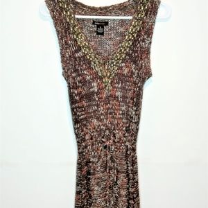 BCBGMaxAzria Knitted Beaded V-Neck Dress